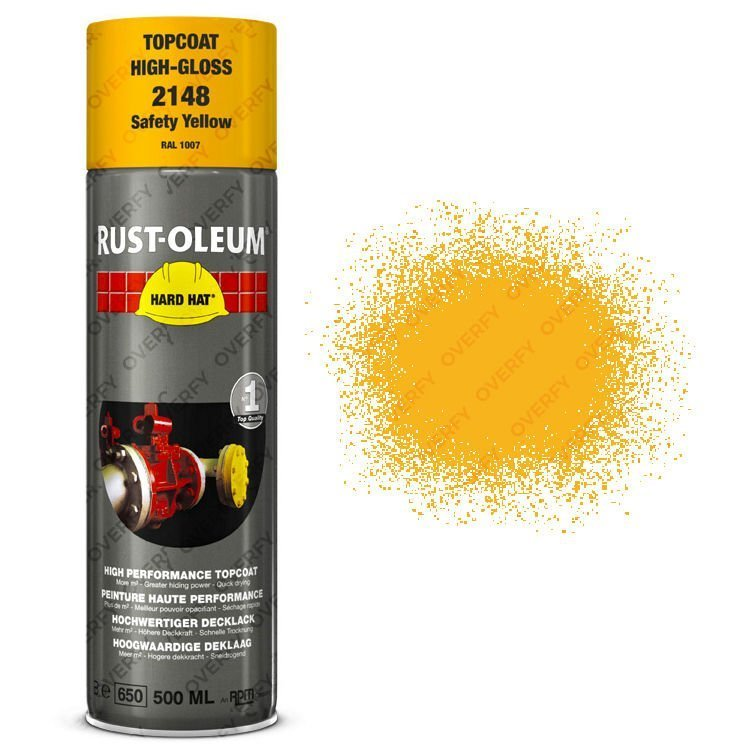 Rust oleum hard hat 500ml safety yellow sprayster for Spray paint safety